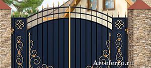 Кованые ворота и калитки для каркасного дома
