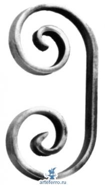 Завиток кованый 14х6мм, 90х180мм
