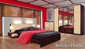 Вид кровати в спальне