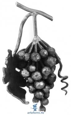 Виноградная гроздь с листочком, 130х270мм