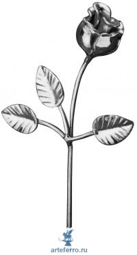 Роза кованая с листочками, Н 260мм