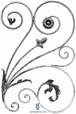 Декоративная кованая панель Ø12мм, 580х880мм