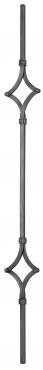 Балясина кованая 12мм с 2 ромбами и хомутами Н 1000мм L 110мм