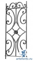 Декоративная кованая панель с цветком 12мм, Н 1000мм L 430мм