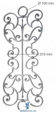 Панель кованая 405х1010 мм из полосы 14х8 мм