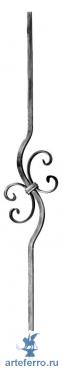 Балясина кованая изогнутая с завитками 12х12мм, 140x900мм