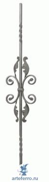 Балясина кованая с волютами и листочками 12х12мм, 170х900мм